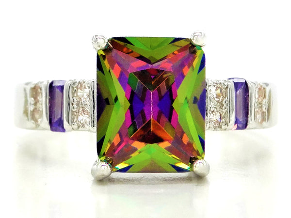 Multicolored baguette sterling silver ring MAIN