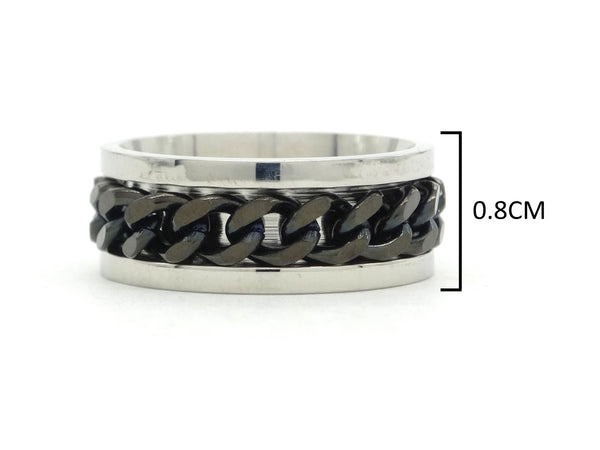 Stainless steel black chain ring MEASUREMENT