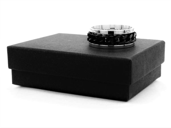 Stainless steel black chain ring GIFT BOX