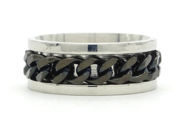 Stainless steel black chain ring MAIN