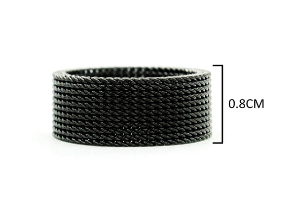 Black steel mesh band ring MEASUREMENT