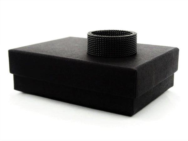 Black steel mesh band ring GIFT BOX