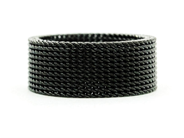 Black steel mesh band ring MAIN