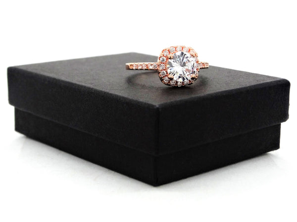 Rose gold round gems classic ring GIFT BOX