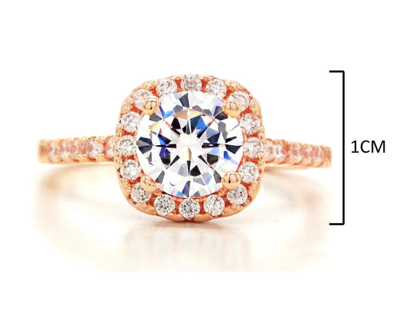Rose gold round gems classic ring MEASUREMENT