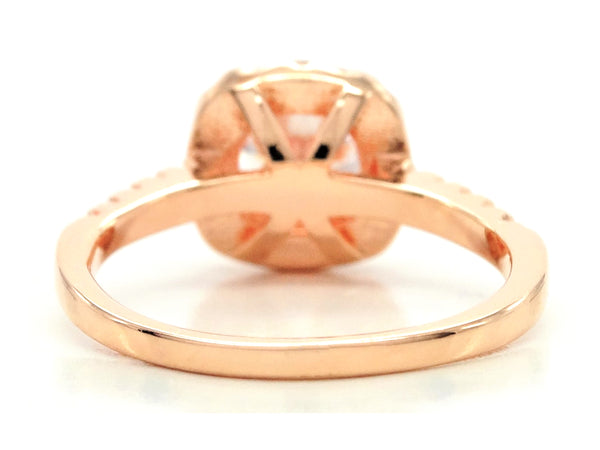 Rose gold round gems classic ring BACK