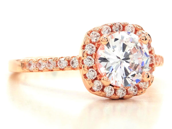 Rose gold round gems classic ring SIDE