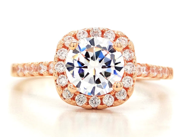Rose gold round gems classic ring MAIN