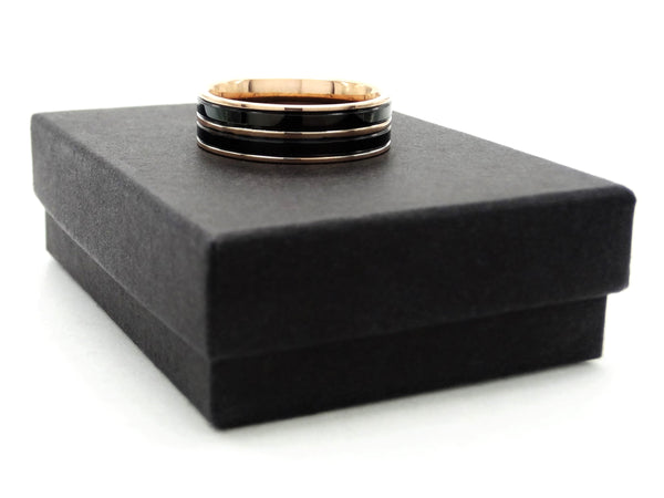 Rose gold steel black ring GIFT BOX