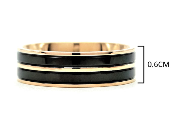Rose gold steel black ring MEASUREMENT