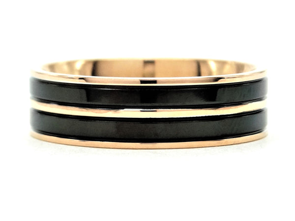 Rose gold steel black ring MAIN