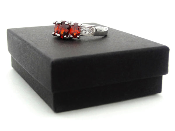 White gold red oval gem ring GIFT BOX