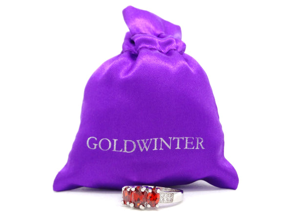 White gold red oval gem ring GIFT BAG