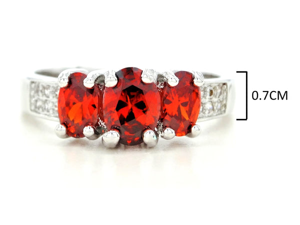 White gold red oval gem ring MEASUREMENT