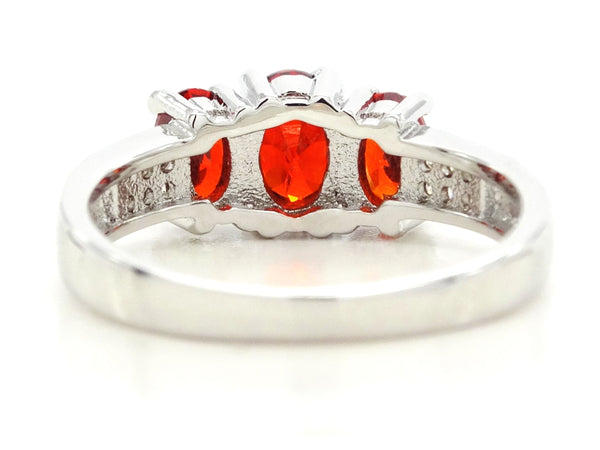White gold red oval gem ring BACK