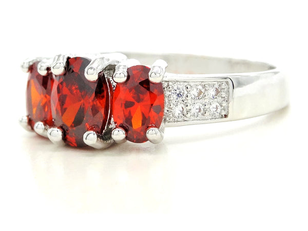 White gold red oval gem ring SIDE