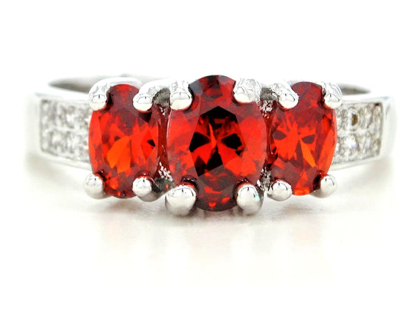 White gold red oval gem ring MAIN