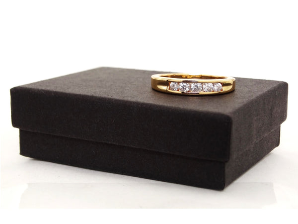 Classic gold 5 gem ring GIFT BOX