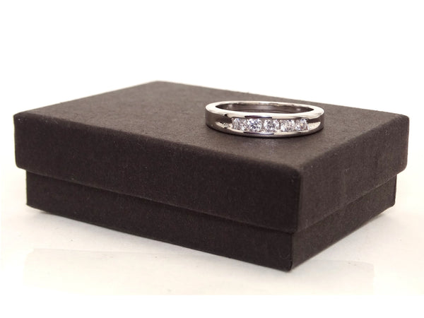 Classic silver 5 gem ring GIFT BOX
