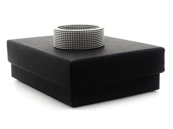 Steel mesh band ring GIFT BOX