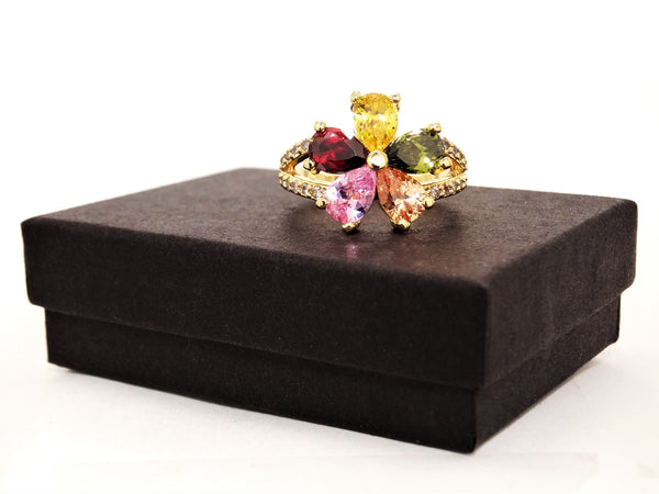 Gold rainbow flower ring GIFT BOX