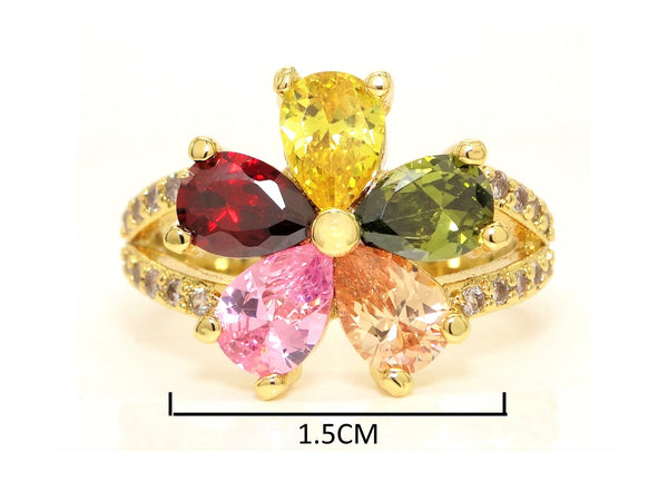 Gold rainbow flower ring MEASUREMENT