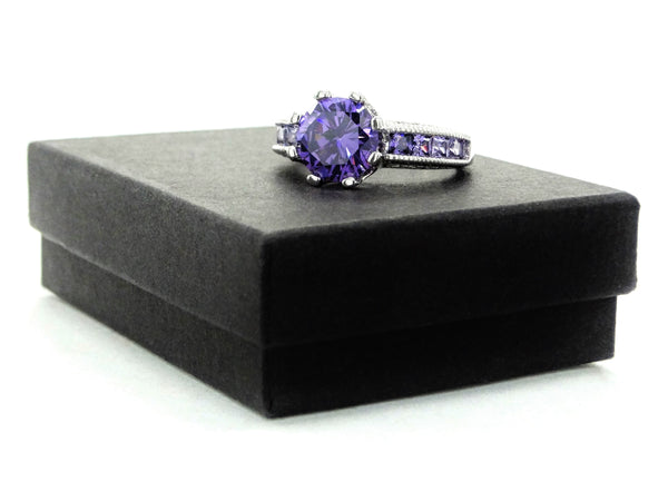 Purple sterling silver round gem ring GIFT BOX