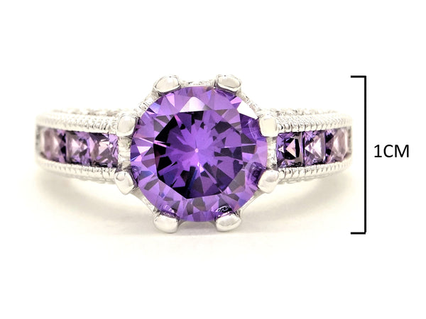 Purple sterling silver round gem ring MEASUREMENT