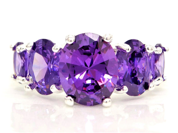 Purple oval gems silver ring