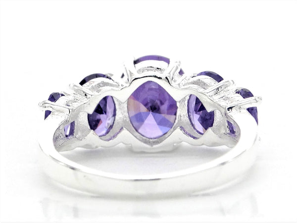 Purple oval gems silver ring BACK
