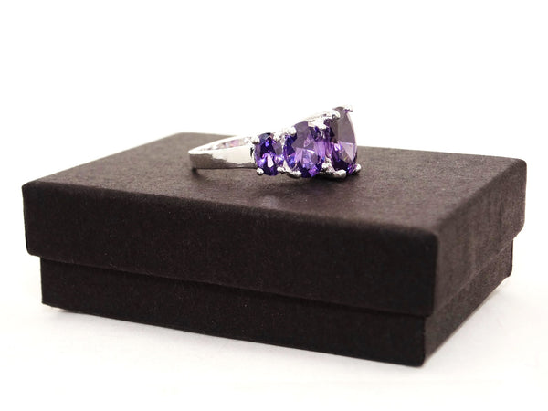 Purple oval gems silver ring GIFT BOX