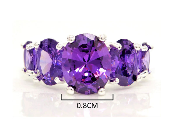Purple oval gems silver ring MEASUREMENT