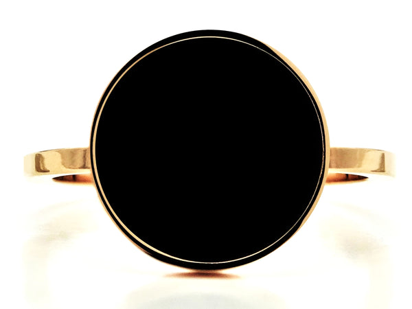 Rose gold black signet ring MAIN
