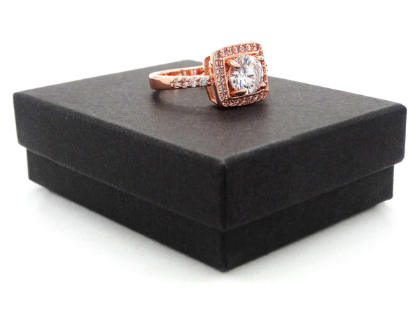 Rose gold round gems ring GIFT BOX
