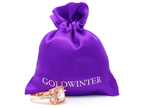 Rose gold round gems ring GIFT BAG