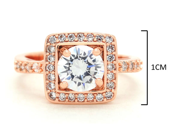 Rose gold round gems ring MEASUREMENT