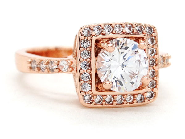 Rose gold round gems ring SIDE