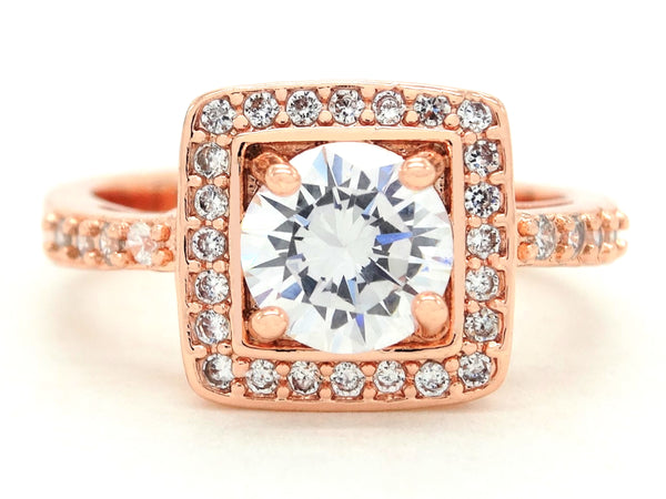 Rose gold round gems ring MAIN