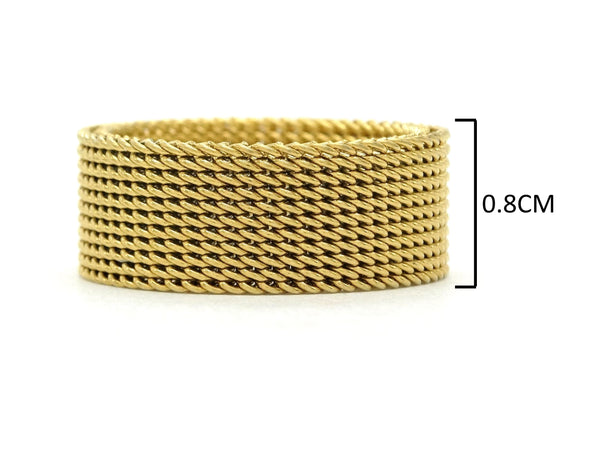 Gold steel mesh band ring MEASUREMENT