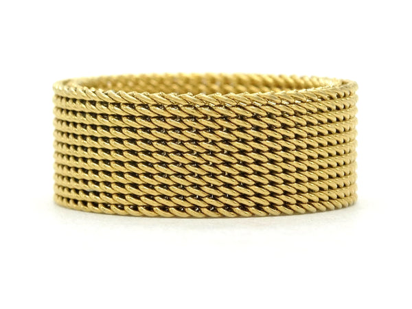 Gold steel mesh band ring MAIN