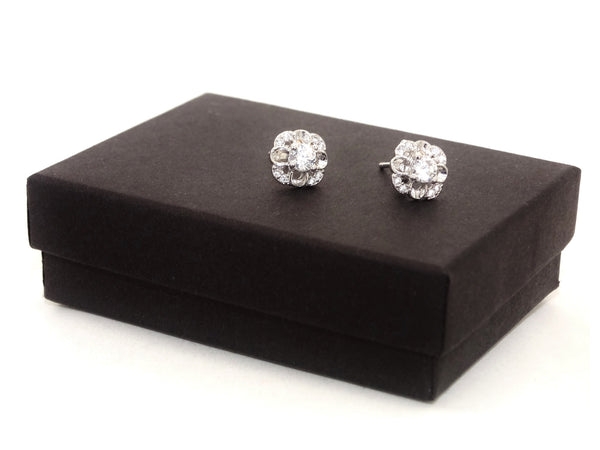 Sterling silver flower stud earrings GIFT BOX