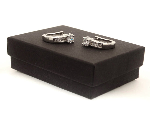 Silver designer hoop earrings GIFT BOX