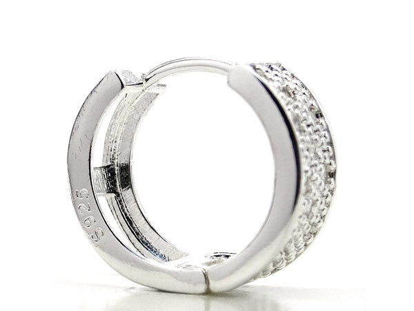 Sterling silver thick hoop earrings SIDE