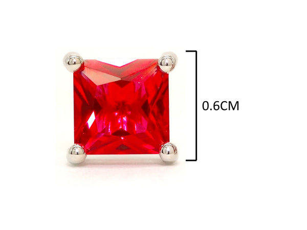 Fire red princess stud earrings MEASUREMENT