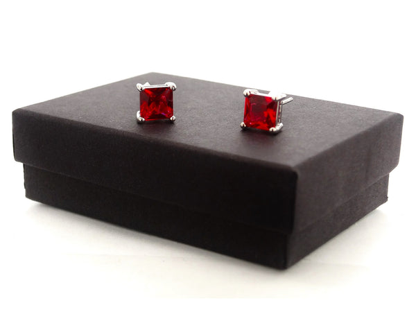 Fire red princess stud earrings GIFT BOX