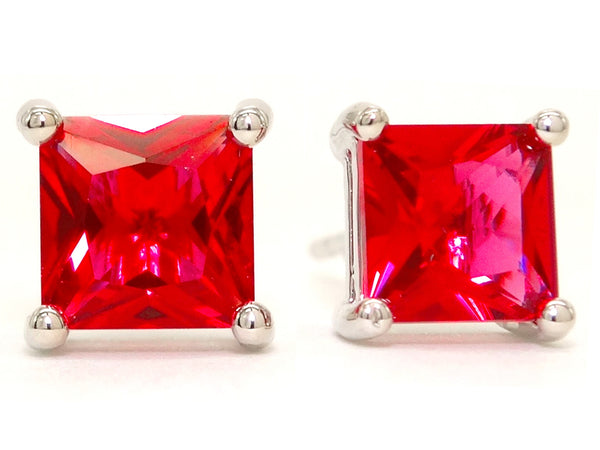 Fire red princess stud earrings