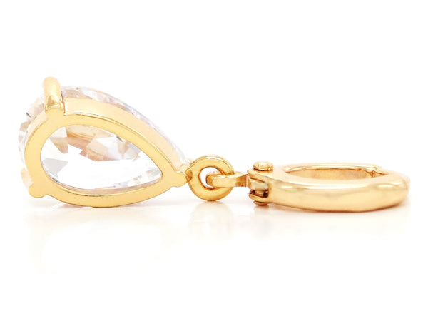 Clear raindrop gem gold earrings BACK