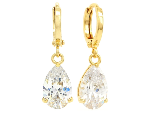 Clear raindrop gem gold earrings