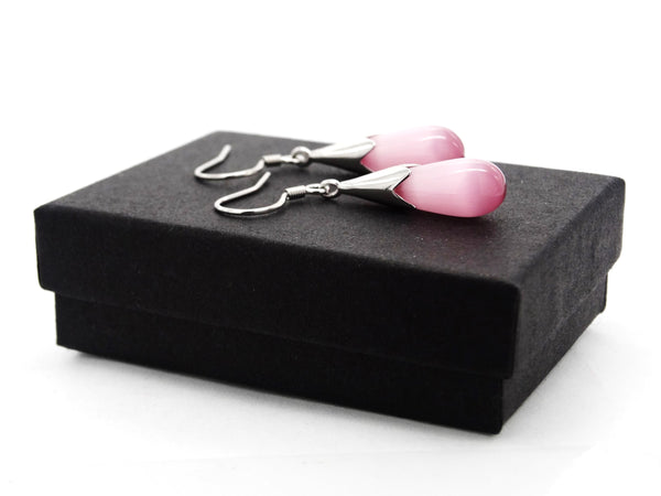 Pink moonstone drop necklace and earrings GIFT BOX