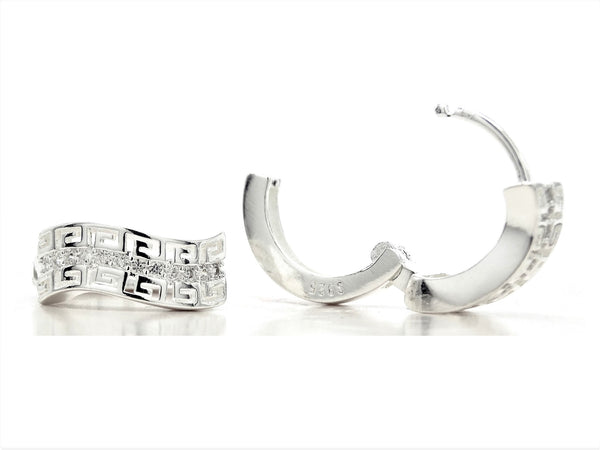 Silver egyptian design hoop earrings